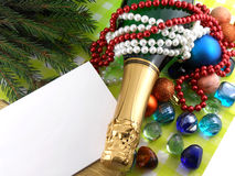 Champagne bottle, diamonds and stones, christmas baubles, Merry Christmas and Happy New Year Royalty Free Stock Image