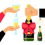 Champagne bottle and drinking glasses. In hands, vector illustration Stock Images