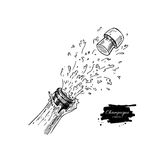 Champagne bottle explosion. Hand drawn isolated vector illustrat Stock Images