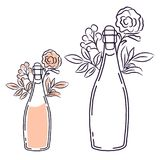 Champagne bottle with flowers line art isolated vector. stock illustration