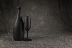 Champagne Bottle and Flute Stock Images