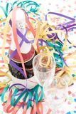 Champagne bottle and flutes Stock Photos