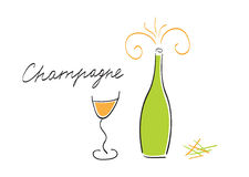 Champagne bottle and glass Stock Image