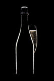 Champagne bottle and glass. Champagne bottle with full flute glass in shadow on black background Stock Image
