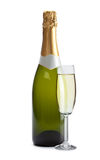Champagne - bottle and glass Stock Photos