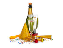 Champagne - bottle and glass stock photography