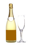 Champagne bottle and glass. Champagne bottle and empty glass , isolated on white background. Blank label for add text Stock Photography
