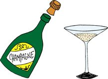 Champagne bottle and glass Royalty Free Stock Photos