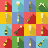 Champagne bottle glass icons set, flat style. Champagne bottle glass icons set. Flat illustration of 16 champagne bottle glass vector icons for web royalty free illustration