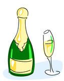 Champagne bottle, glass Royalty Free Stock Photo