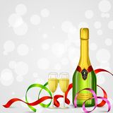 Champagne Bottle and Glass Stock Photos