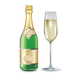 Champagne bottle and glass  on white Royalty Free Stock Photography
