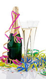 Champagne Bottle and Glasses Stock Photography