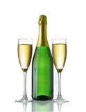 Champagne bottle and glasses Royalty Free Stock Images