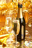 Champagne - bottle and glasses Stock Images