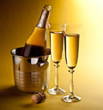 Champagne bottle and glasses Royalty Free Stock Image