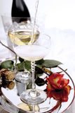 Champagne, bottle and glasses Royalty Free Stock Photography