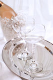 Champagne, bottle and glasses Stock Image