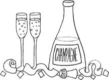 Champagne bottle and glasses Royalty Free Stock Photos