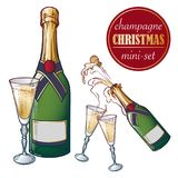 Champagne bottle and glasses. Closed and open champagne bottle and glasses, holiday toast, cork jumping out with Stock Photography