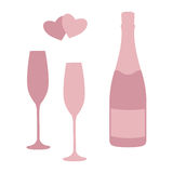 Champagne bottle and glasses. Stock Image