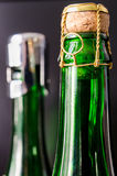 Champagne bottle. Green champagne bottle with cork closeup Stock Image