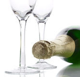 Champagne bottle high key light Stock Photos