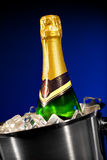 Champagne bottle in ice Stock Photos
