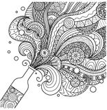 Champagne bottle line art design for coloring book for adult,poster, card and design element Royalty Free Stock Images