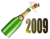 Champagne bottle and new year. Illustration on 2009 new year celebrations and wine bottle isolated on white background vector illustration
