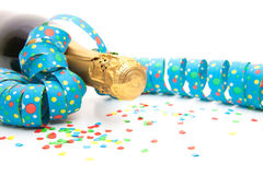 Champagne bottle with party decoration Stock Photo