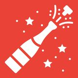 Champagne bottle pop glyph icon, New year. And Christmas, xmas sign vector graphics, a solid pattern on a red background, eps 10 Royalty Free Stock Image