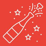 Champagne bottle pop line icon, New year. And Christmas, xmas sign vector graphics, a linear pattern on a red background, eps 10 Stock Photography