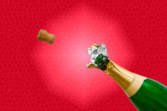 Champagne bottle pops. A cork flying out of a Champagne bottle isolated on a red background royalty free stock photo