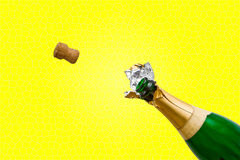 Champagne bottle pops Royalty Free Stock Photo