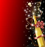Champagne Bottle with Red Bow. A Champagne Bottle Background with Red Bw and Lights Royalty Free Stock Photography