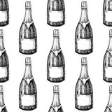 Champagne bottle seamless pattern. Hand drawn isolated vector illustration. Alcohol Royalty Free Stock Image