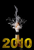 Champagne bottle with shotting cork Royalty Free Stock Photos