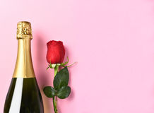 Champagne Bottle Single Rose Stock Afbeelding