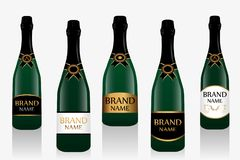 Champagne bottle or sparkling wine with label. Collection of five glass bottles isolated on white background. Vector vector illustration