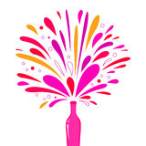 Champagne bottle splash explosion. Festive champagne bottle for any special occasion. Vector Illustration Stock Images