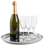 Champagne bottle and three glasses Royalty Free Stock Photo