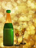 Champagne Bottle and Two Glass Flutes. Champagne Bottle with Two Glass Flutes on Blurred Background Illustration Royalty Free Stock Photos