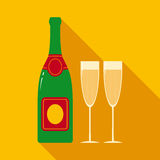 Champagne Bottle and Two Glasses Royalty Free Stock Image