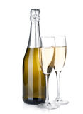 Champagne bottle and two glasses Royalty Free Stock Photo