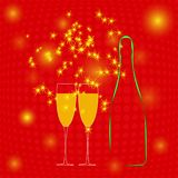 Champagne bottle, two glasses and sparkler on red background. Vector. Illustration Royalty Free Stock Photo