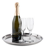 Champagne bottle and two glasses Stock Images