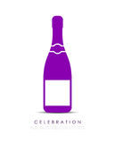 Champagne bottle vector icon. On white background Royalty Free Stock Photo
