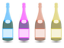 Champagne. A bottle of wine. Vector illustration in a flat style Stock Photos