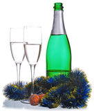 Champagne bottle and wineglasses Royalty Free Stock Photos